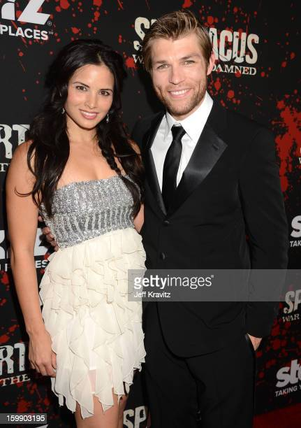 Actors Katrina Law and Liam McIntyre attend the Spartacus War Of The Damned premiere at Regal Cinemas LA LIVE Stadium 14 on January 22 2013 in Los...