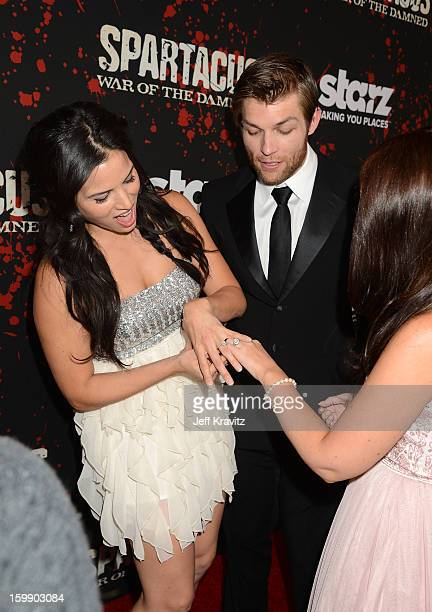 Actors Katrina Law Liam McIntyre and Erin Hasan attend the Spartacus War Of The Damned premiere at Regal Cinemas LA LIVE Stadium 14 on January 22...