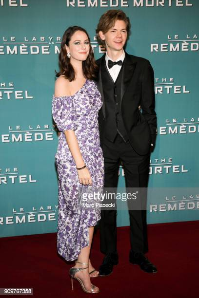 Actors Kaya Scodelarion and Thomas BrodieSangster attend the 'Maze Runner The Death Cure' Premiere at Le Grand Rex on January 24 2018 in Paris France