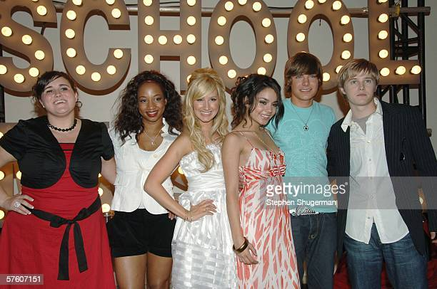 Actors Kaycee Stroh, Monique Coleman, Ashley Tisdale, Vanessa Anne Hudgens, Zac Efron and Lucas Grabeel attend the after party for the DVD launch of...