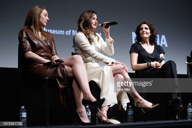 Actors Kayli Carter and Kathryn Hahn and writer and director Tamara Jenkins on stage during MoMA's Contenders screening of Private Life at MoMA Titus...