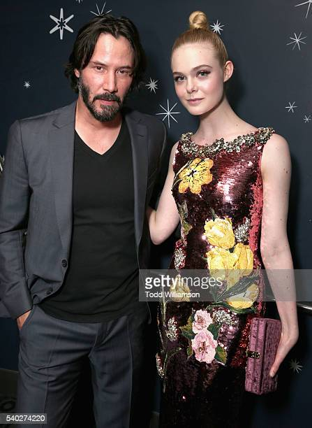 Actors Keanu Reeves and Elle Fanning attend The Neon Demon Los Angeles Premiere at ArcLight Cinemas Cinerama Dome on June 14 2016 in Hollywood...