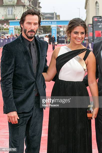 Actors Keanu Reeves and Lorenza Izzo attend the 'Knock Knock' Premiere during the 41st Deauville American Film Festival on September 5 2015 in...