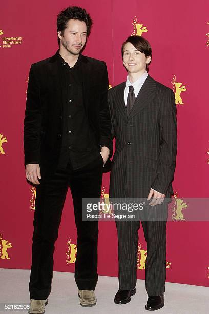 Actors Keanu Reeves and Lou Taylor Pucci pose at the Thumbsucker Photocall during the 55th annual Berlinale International Film Festival on February...