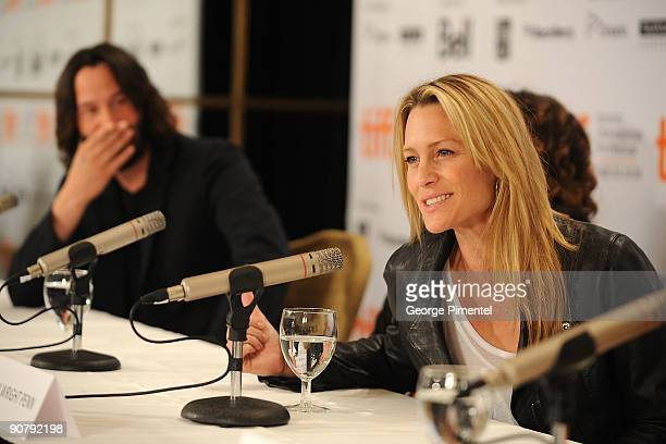 Actors Keanu Reeves and Robin Wright Penn speak onstage at the 'The Private Lives Of Pippa Lee' press conference held at the Sutton Place Hotel on...