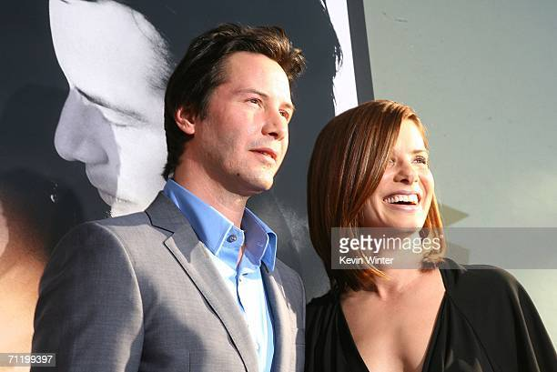 Actors Keanu Reeves and Sandra Bullock arrive at the premiere of Warner Bros Pictures' The Lake House at the Cinerama Dome on June 13 2006 in Los...