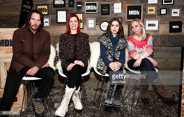 Actors Keanu Reeves Carrie Preston Lily Collins and writer/director Marti Noxon of 'To The Bone' attend The IMDb Studio featuring the Filmmaker...