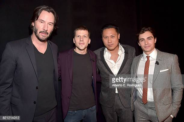 """Actors Keanu Reeves Jesse Eisenberg director Jon M Chu and actor Dave Franco attend CinemaCon 2016 """"Experience the Magic of Lionsgate' A 2016 Sneak..."""