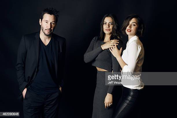 Actors Keanu Reeves Lorenza Izzo and Ana de Armas from Knock Knock pose for a portrait at the Village at the Lift Presented by McDonald's McCafe...