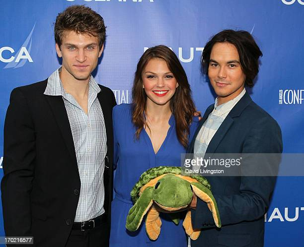 Actors Keegan Allen Aimee Teegarden and Tyler Blackburn attend the Nautica Oceana inaugural Oceana Beach House event at the Marion Davies Guest House...