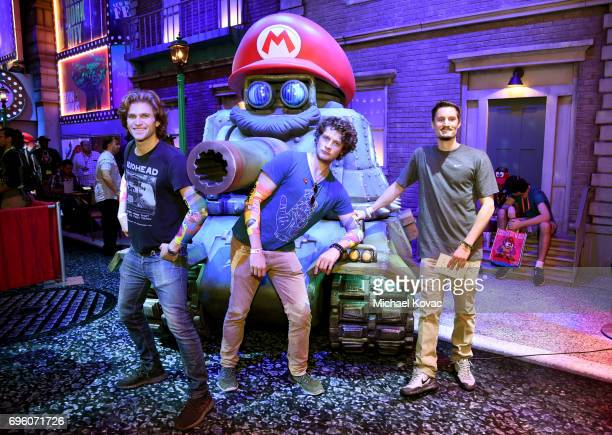 Actors Keegan Allen Brett Dier and Jordan Blake Knight visit the Nintendo booth at the 2017 E3 Gaming Convention at Los Angeles Convention Center on...