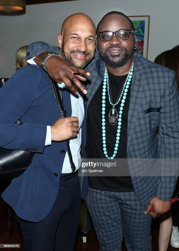 Actors Keegan-Michael Key and Brian Tyree Henry attend the screening after party for 'Hotel Artemis' hosted by Global Road Entertainment with The Cinema Society at the Society Cafe, at Walker Hotel Greenwich Village on May 29, 2018 in New York City.