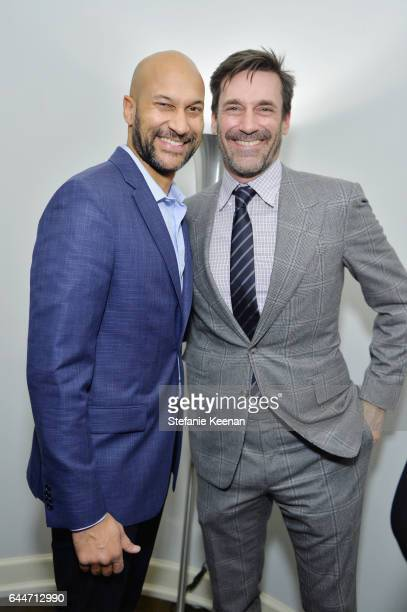 Actors KeeganMichael Key and Jon Hamm attend Vanity Fair and Lancome Toast to The Hollywood Issue at Chateau Marmont on February 23 2017 in Los...
