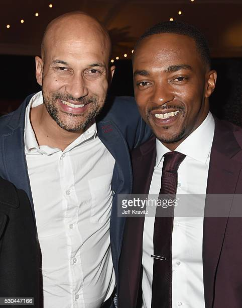 Actors KeeganMichael Key left and Anthony Mackie attend the afterparty of the Premiere Of HBO's 'All The Way' on May 10 2016 in Hollywood California