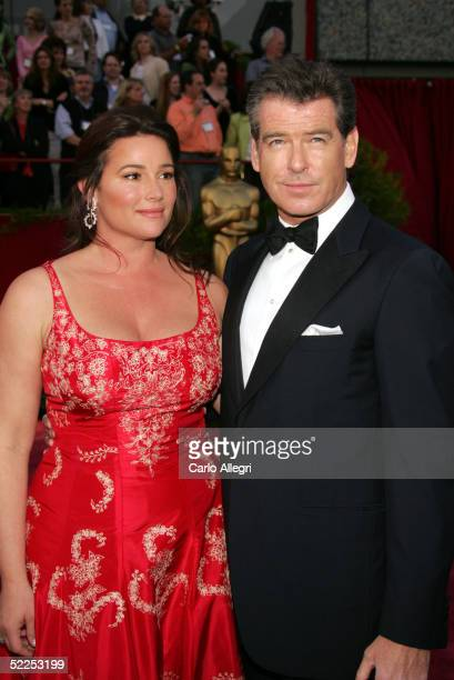 Actors Keely Shaye Smith and Pierce Brosnan arrive the 77th Annual Academy Awards at the Kodak Theater on February 27 2005 in Hollywood California