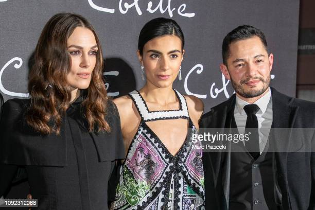 Actors Keira Knightley Aiysha Hart and Jake Graf attend the 'Colette' Premiere at Cinema Gaumont Marignan on January 10 2019 in Paris France
