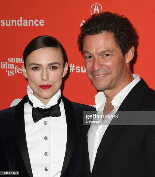 Actors Keira Knightley and Dominic West attend the 'Colette' Premiere during the 2018 Sundance Film Festival at Eccles Center Theatre on January 20...