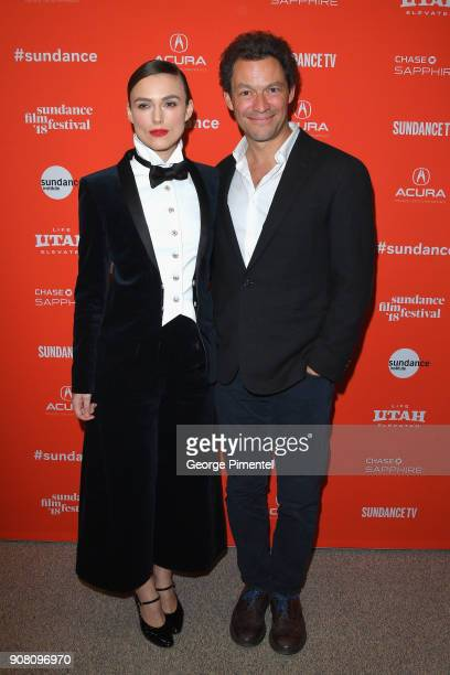 Actors Keira Knightley and Dominic West attends the 'Colette' Premiere during the 2018 Sundance Film Festival at Eccles Center Theatre on January 20...
