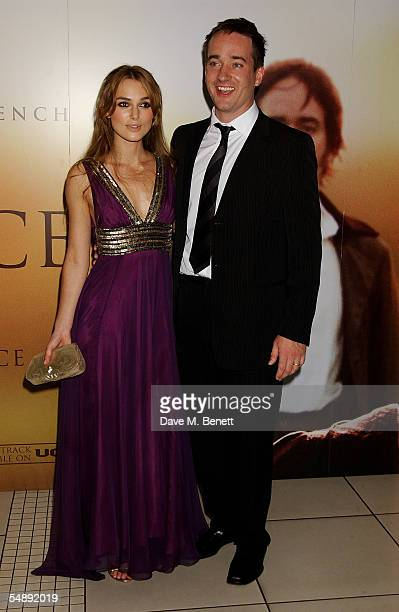 Actors Keira Knightley and Matthew MacFadyen arrive at the UK premiere for the film Pride Prejudice at the Odeon Leicester Square on September 5 2005...