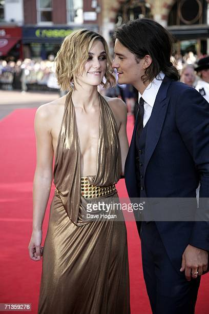 Actors Keira Knightley and Orlando Bloom arrive at the European Premiere of 'Pirates of the Caribbean Dead Man's Chest' at Odeon Leicester Square on...