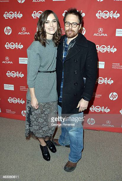 Actors Keira Knightley and Sam Rockwell attend the 'Laggies' premiere at Eccles Center Theatre during the 2014 Sundance Film Festival on January 17...