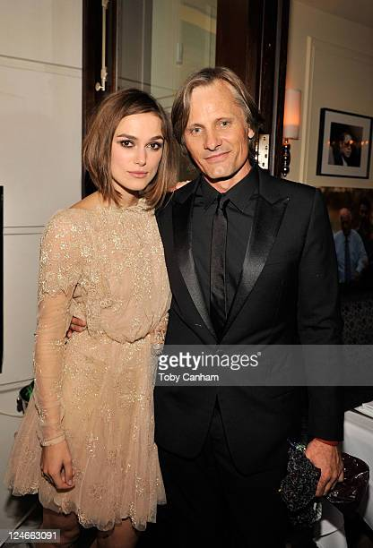 Actors Keira Knightley and Viggo Mortensen attend Sony Pictures Classic Cocktail Party at Creme Brasserie during the 2011 Toronto International Film...