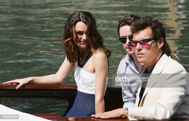 Actors Keira Knightley James McAvoy and director Joe Wright arrive to attend the Atonement photocall during Day 1 of the 64th Annual Venice Film...