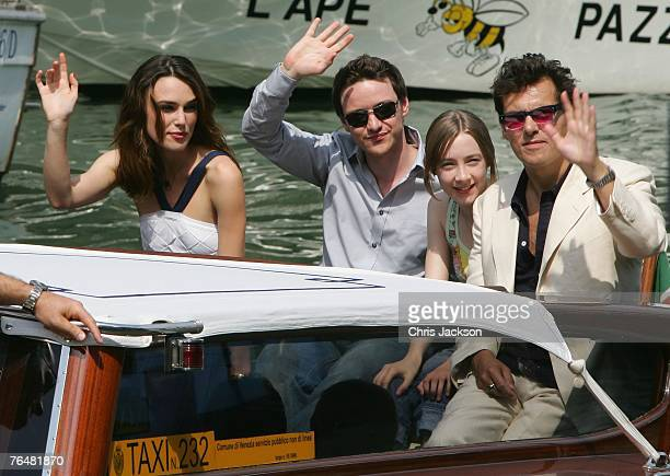 Actors Keira Knightley James McAvoy Saoirse Ronan and director Joe Wright arrive to attend the Atonement photocall during Day 1 of the 64th Annual...