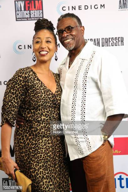 """Actors Keith David and Dionne Lea Williams attend the premiere of Cinedigm's """"American Dresser"""" at Laemmle's Monica Film Center on September 12, 2018..."""