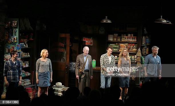 Actors Keith Nobbs Adelaide Clemens Jonathan Hogan Timothy Olyphant Jenn Lyon and CJ Wilson take a bow during opening night curtain call for 'Hold On...