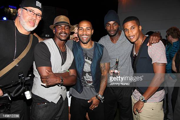 Actors Keith Robinson Omari Hardwick Mo McRae and Cory Hardrict attend the A Wonderful Life Performance Series Featuring Estelle presented by Rosa...