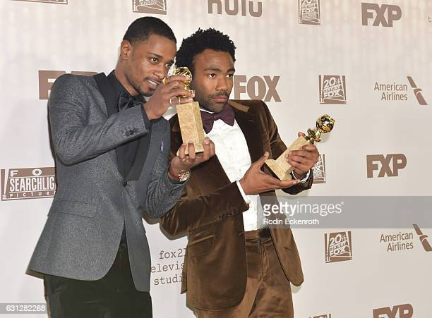 Actors Keith Stanfield and Donald Glover, winners of Best Television Series - Musical or Comedy for 'Atlanta,' attend FOX and FX's 2017 Golden Globe...