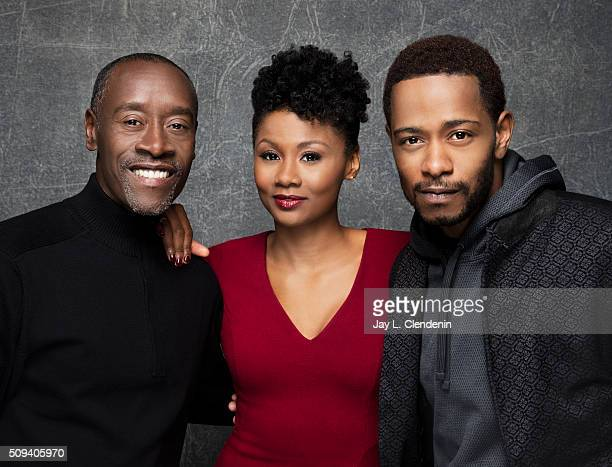 Actors Keith Stanfield Don Cheadle and Emayatzy Corinealdi from the film 'Miles Ahead' pose for a portrait at the 2016 Sundance Film Festival on...