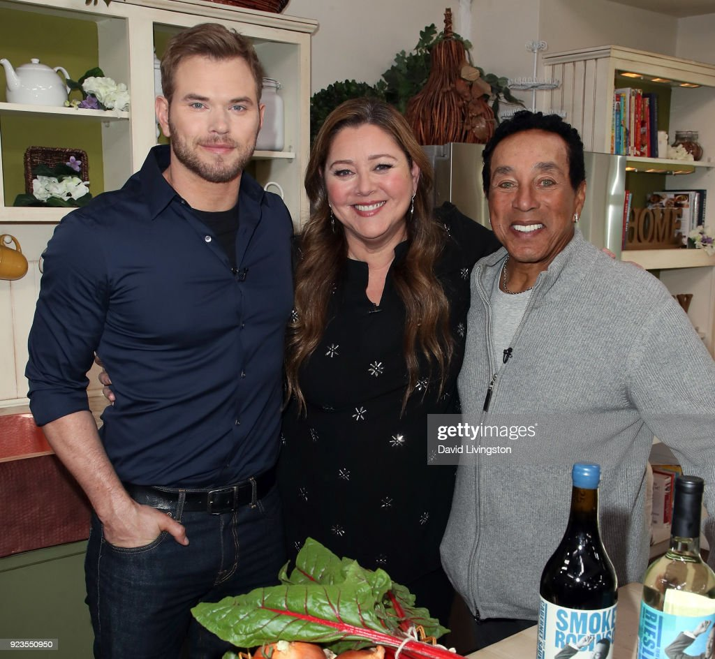 Actors Kellan Lutz and Camryn Manheim and recording artist Smokey Robinson visit Hallmark's 'Home & Family' at Universal Studios Hollywood on February 23, 2018 in Universal City, California.