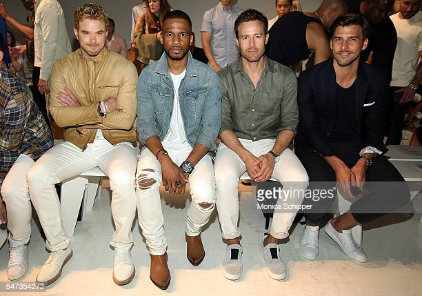 Actors Kellan Lutz and Eric West and model Johannes Huebl attend the Todd Snyder fashion show during New York Fashion Week Men's S/S 2017 at Skylight...