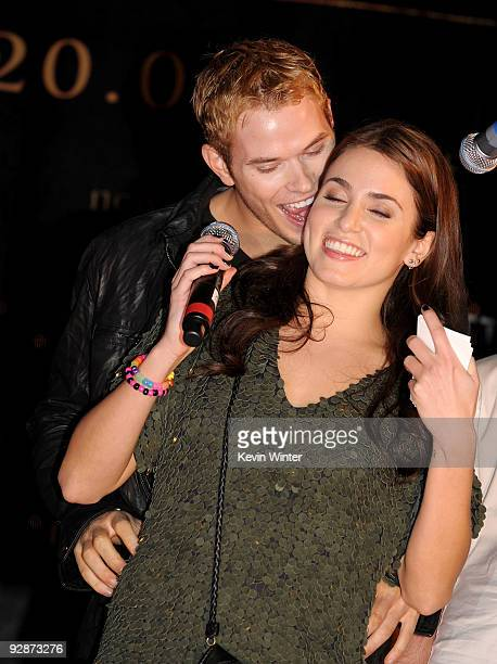 Actors Kellan Lutz and Nikki Reed appear onstage at Summit's The Twilight Saga New Moon Cast Tour at Hollywood and Highland on November 6 2009 in Los...