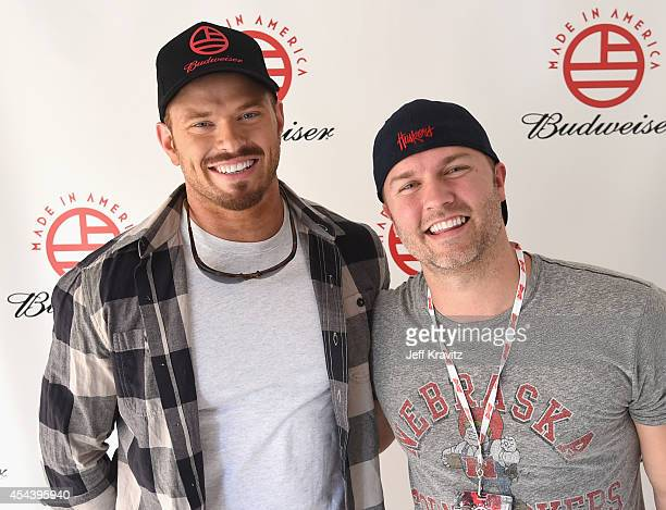 Actors Kellan Lutz and Scott Porter pose backstage during day 1 of the 2014 Budweiser Made In America Festival at Los Angeles Grand Park on August 30...