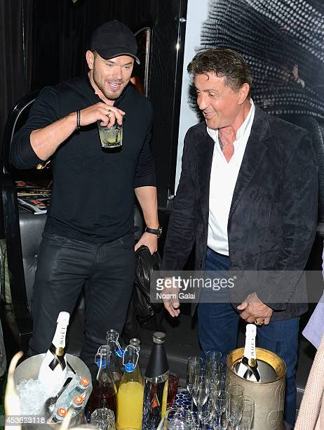 Actors Kellan Lutz and Sylvester Stallone attend DuJour Magazine's Jason Binn celebrating Sly Stallone's cover with Michael Satsky at Provocateur on...