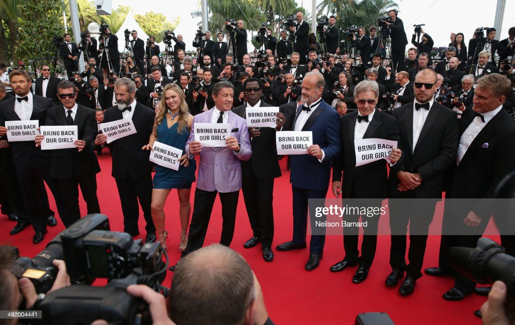 Actors Kellan Lutz, Antonio Banderas, Mel Gibson, Ronda Rousey, Sylvester Stallone, Wesley Snipes, Kelsey Grammer, Harrison Ford, Glen Powell, Dolph Lundgren attend 'The Expendables 3' premiere during the 67th Annual Cannes Film Festival on May 18, 2014 in Cannes, France.