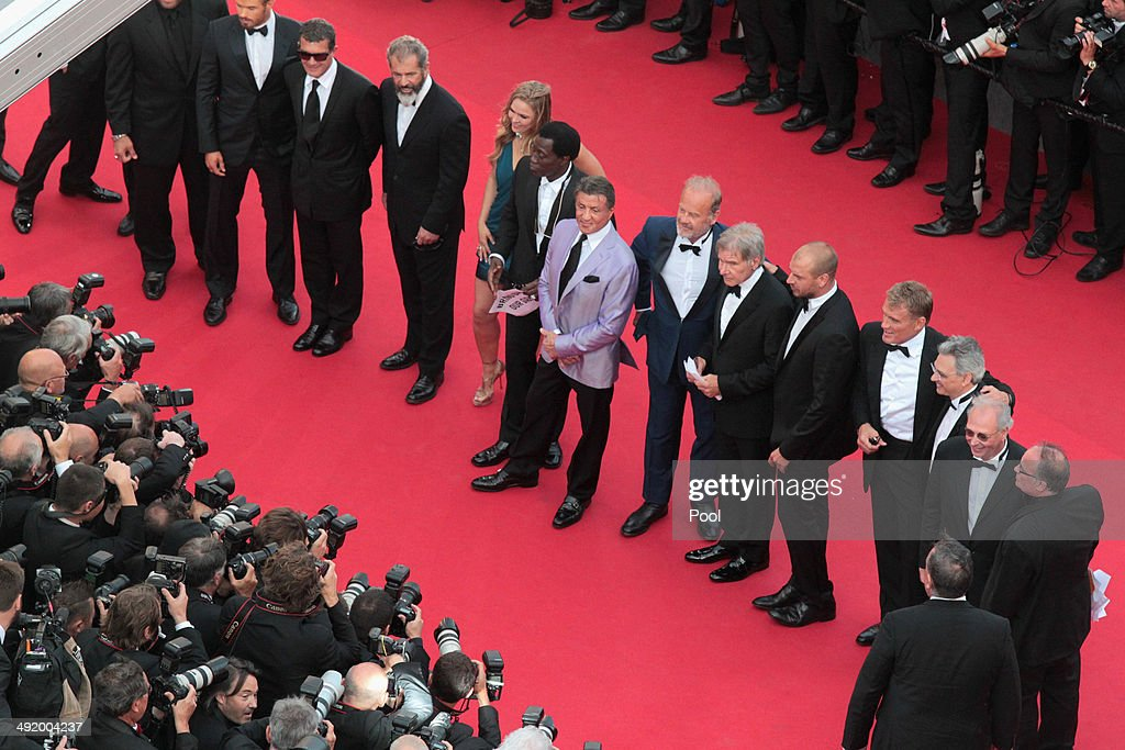 Actors Kellan Lutz, Antonio Banderas, Mel Gibson, Ronda Rousey, Wesley Snipes, Sylvester Stallone, Kelsey Grammer, Harrison Ford, Glen Powell, Dolph Lundgren, guest and producer Avi Lerner attend 'The Expendables 3' premiere during the 67th Annual Cannes Film Festival on May 18, 2014 in Cannes, France.