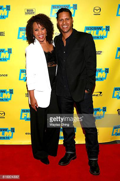 Actors Kellee Stewart and Alexis DeLaRosa attend the premiere of 'Hunter Gatherer' during the 2016 SXSW Music Film Interactive Festival at Vimeo on...