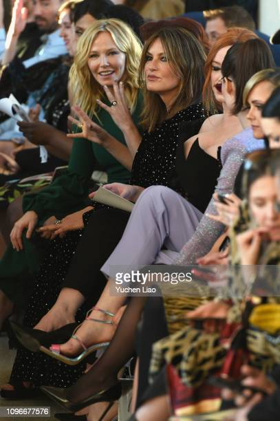 Actors Kelli Giddish and Mariska Hargitay attend the Christian Siriano front row during New York Fashion Week The Shows at Top of the Rock on...