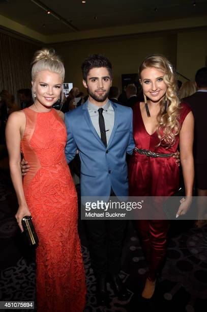 Actors Kelli Goss and Max Ehrich and guest attend The 41st Annual Daytime Emmy Awards at The Beverly Hilton Hotel on June 22 2014 in Beverly Hills...