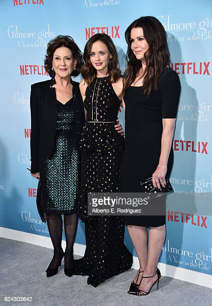 Actors Kelly Bishop Alexis Bledel and Lauren Graham attend the premiere of Netflix's Gilmore Girls A Year In The Life at the Regency Bruin Theatre on...