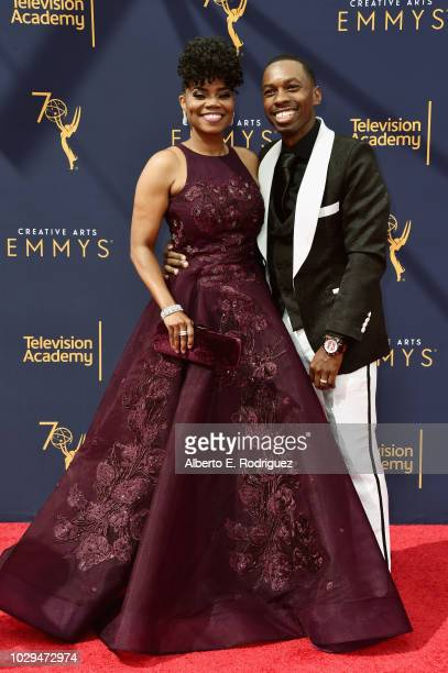 Actors Kelly Jenrette and Melvin Jackson Jr attend the 2018 Creative Arts Emmy Awards at Microsoft Theater on September 8 2018 in Los Angeles...