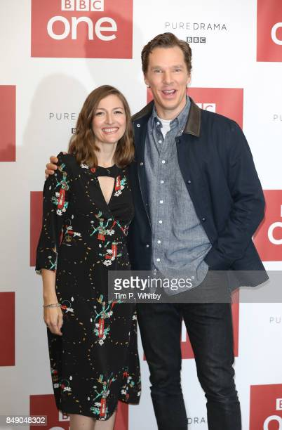 Actors Kelly Macdonald and Benedict Cumberbatch pose for a photo ahead of a preview screening of 'The Child In Time' at BAFTA on September 18 2017 in...