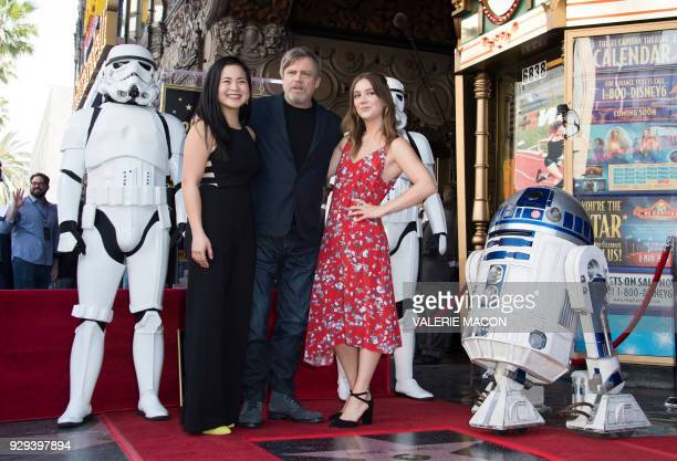 Actors Kelly Marie Tran Mark Hamill and and Billie Lourd attend the ceremony honoring Hamill with a star on the Hollywood Walk of Fame on March 8 in...