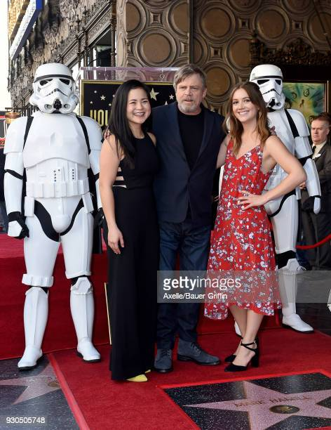 Actors Kelly Marie Tran Mark Hamill and Billie Lourd attend the ceremony honoring Mark Hamill with star on the Hollywood Walk of Fame on March 8 2018...