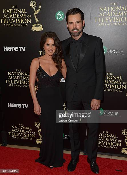 Actors Kelly Monaco and Jason Thompson attend The 41st Annual Daytime Emmy Awards at The Beverly Hilton Hotel on June 22 2014 in Beverly Hills...