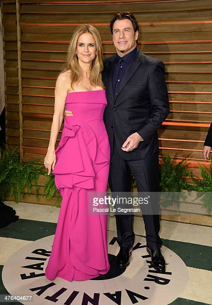 Actors Kelly Preston and John Travolta attend the 2014 Vanity Fair Oscar Party hosted by Graydon Carter on March 2, 2014 in West Hollywood,...